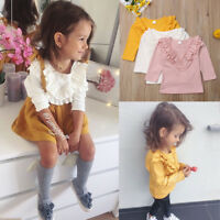 Kids Baby Girls Vintage Ruffled Collar Cotton Long Sleeve Tops T Shirt Blouse AU