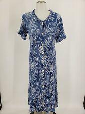 Orvis Women's Sz S Blue Floral Button Rayon Dress Midi Shirt Dress Crinkle
