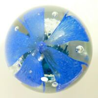 """Large Hand Blown Crystal Clear Paper Weight Pretty Blue Flower 3.5"""""""