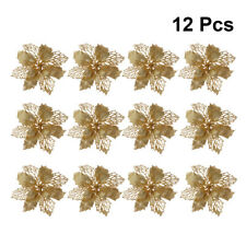 12 Pcs Hollow Artificial Flowers Garland Ornaments Hanging Pendant for Xmas Tree