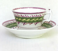 Lustreware Cup Deep Saucer 518 London Style Pedestal Pink Green England Antique