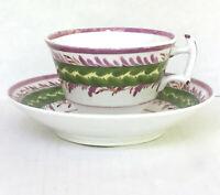 Lustreware Cup Deep Saucer 518 London Style Pedestal Pink Green England Antique