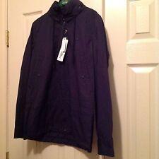 Women's Lacoste Navy Blue Hooded Rain Coat Jacket Sz 4 $265 NWT!