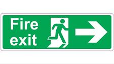 300mmx100mm FIRE EXIT - RIGHT - STICKER/SIGN - Health and Safety Directional