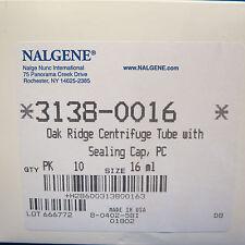 Pk/10 Nalgene 16mL Oak Ridge PC Centrifuge Tubes  #3138-0016