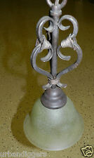7291/ Antique Bronze Hanging  Light FIXTURE w Chain & Ceiling plate