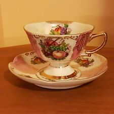 Shafford Hand Decorated Tea Cup and Saucer Lusterware Fruit Basket Footed Japan