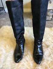 Cristiano Black Leather Calf Hair Knee High Boots Made in Italy 8.5