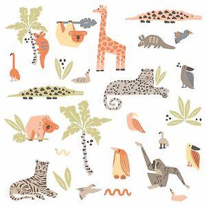 DwellStudio Jungle Animals Wall Decals Baby Nursery Stickers Tiger Hippo Decor