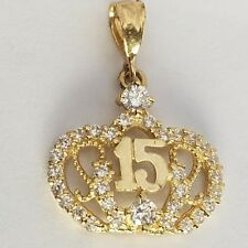 10k Yellow Gold Sweet 15 Charm Quinceanera Heart Pendant