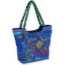 Laurel Burch Canine Dogs and Butterflies Blue Large Shoulder Tote Canvas Bag NWT
