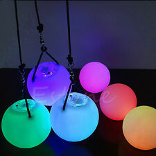 Pro LED POI Thrown Balls Multi-Colored Glow Light Up For Belly Dance Hand Props