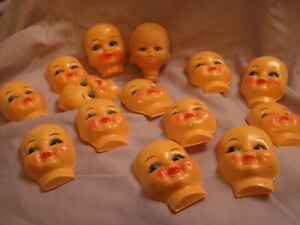 vintage antique dolls heads faces for crafts sewing a quantity