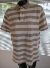 Tommy Hilfiger Mens Brown White Stiped Polo Shirt XL Trim Fit