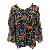 Anthropologie Maeve Top Blouse Women's Medium Long Sleeve Floral Tie Ruffles