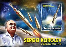 Antigua & Barbuda-2016-space-Sergei Korolev in memoriam 1907-1966 s/s