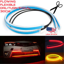 30cm LED Switchback Headlight DRL Light Strip Sequential Turn Tube Red Amber US