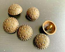 10pcs Antique Gold Floral Carved Shank Buttons Sewing Craft Metal Brass Vintage