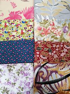 SALE half metre pieces cotton fabric floral flower design pink lilac grey green
