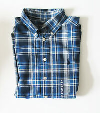 Ralph Lauren Boys Madras Plaid Long Sleeve Shirt Blue Multi Sz S (8) - NWT