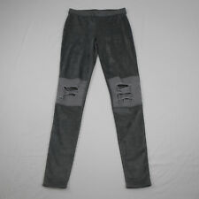 Astars Womens Denim Gray Skylar Suede Destroyed Leggings Size L Large