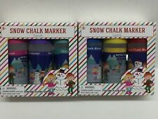 Snow Chalk Markers Snow Writing Drawing Set 6 Pink Purple Teal Red Blue Yellow