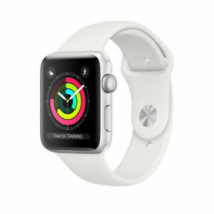 NEW APPLE WATCH SERIES 3 38MM SILVER ALUMINUM WHITE SPORT BAND MTEY2LL/A