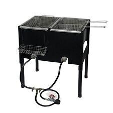 Propane LPG Camping Stove 2 Burner basket Gas Double Deep Fryer Cooker Outdoor