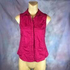 Women's Susan Bristol Red Sleeveless Button Up Shirt Size S