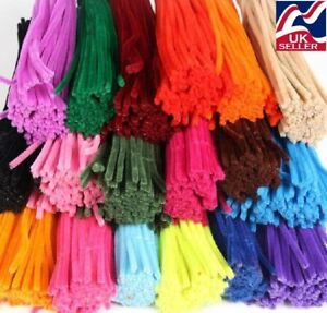 10-1000 chenille craft stems pipe cleaners 30cm  long, 6mm wide,lots of colours