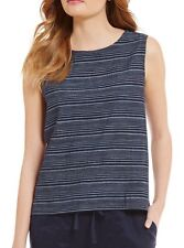 NWT Eileen Fisher Midnight Cotton Linen Round Neck Shell Sz M $178
