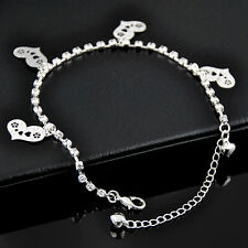 Fashion crystal heart Pendants silver plate Alloy Anklet