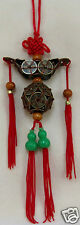 Feng Shui Red Mystic Knot with Chinese Coins Ingot & Sphere & Wu Lu Health Luck