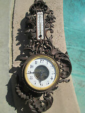 Antique French Victorian Carved walnut Wood Wall cartel Clock Matri #2