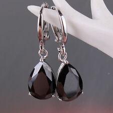 HUCHE Black Pear Sapphire Crystal Silver White Gold Filled Women Dangle Earring