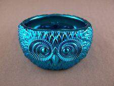 "Owl bracelet Teal shiny metallic plastic hinged bangle cuff 1.75"" 4.5cm wide"