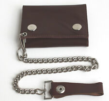 BROWN GENUINE LEATHER Biker's Wallet ID Card Holder w/ Chain Trifold ID Slot New
