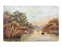 Antique colour printed postcard Tucks Oilette The River Kitley South Devon