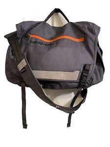 PATAGONIA Messenger Bag Half Mass Crossbody Shoulder Bag Gray And Orange Pockets