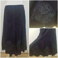 M&S Per Una Purple Long Length Lined A Line Skirt Floral Design Soft Feel 12r