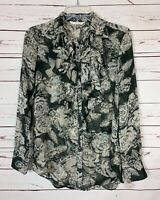 CAbi Women's XS Extra Small Gray Floral Long Sleeve Cute Spring Top Blouse $85