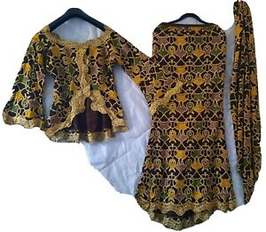 Beautiful African/Nigerian Wedding/occasion/party outfit. 3 piece set size 8-10