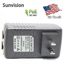 48V 0.5A Wall Plug PoE Injector Ethernet Adapter IP Phone/Camera Power Supply US