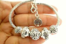 Ornate Balinese No Stone Tree of Life 925 Sterling Silver Beads Chain Bracelet