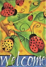 """WELCOME LADYBUGS RED and YELLOW LARGE HOUSE FLAG 28"""" X 40"""""""