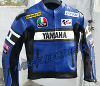 Yamaha Blue Motorbike Leather Racing Biker Leather Jacket-Chaqueta de moto