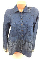 Free People Womens Top Blouse Shirt Blue Flowers Floral Peasant Tunic Boho Sz XS