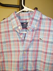 Vineyard Vines Boys Plaid Whale Shirt Button Up Medium 10/12