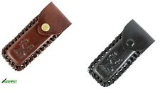 "2 Pc Leather 4"" Tactical Knife Sheath Belt Loop Folding Assorted Black/ Brown"