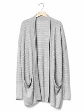NWT Gap Open-front stripe cardigan heather grey SIZE L   #241427